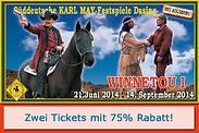 Gutschein für 75% Rabatt auf zwei Tickets für die Karl May-Festspiele! von WESTERN CITY