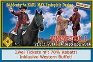 Gutschein für 70% Rabatt auf zwei Tickets für die Karl May-Festspiele inklusive Western-Buffet! von WESTERN CITY